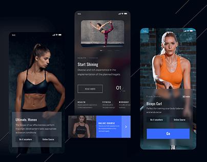 Free Fitness App Dark Theme UI Kit