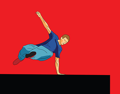 Parkour. The man is jumping.