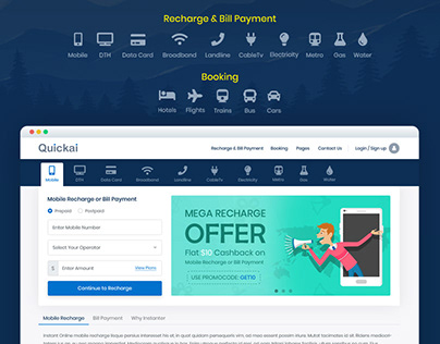 Recharge and Bill Payment, Booking HTML Template