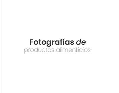 Fotografías de productos alimenticios.