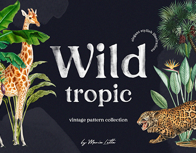 Wild tropic vintage pattern set