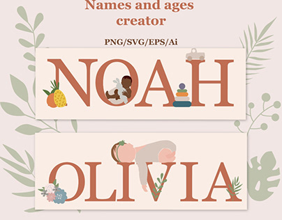 Abstract baby name and ages creator