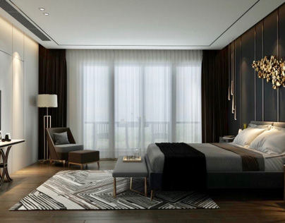 New classic bedroom design with private bath
