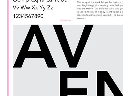 Avenir type specimen sheet