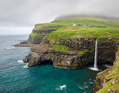 Cliffs and villages of the Faroe Islands
