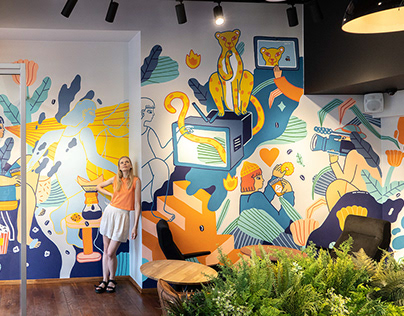 Tv coffee House Mural