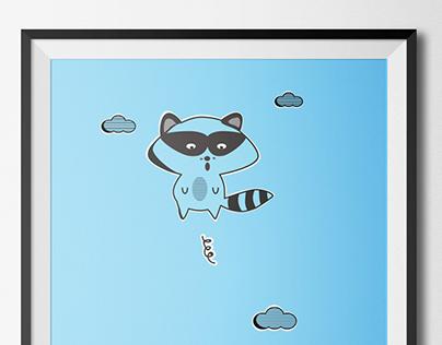 Jumping Raccoon Illustration