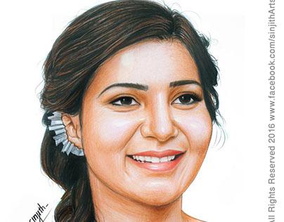 Actress - Samantha Ruth Prabhu - Colored Pencil Drawing