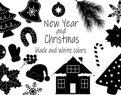 New Year and Christmas black and white colors vector