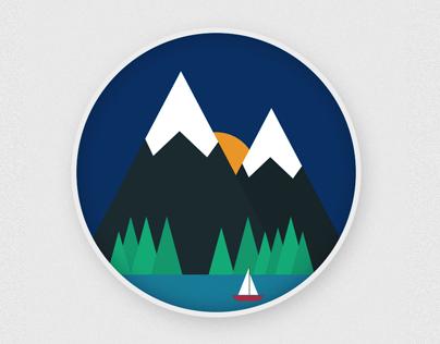 Lake, Mountain and Boat GIF