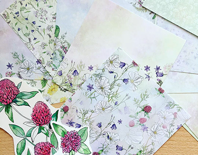 Field flowers. Scrapbook paper.