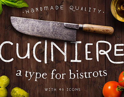 Cuciniere Font + 40 Icons (Handmade)