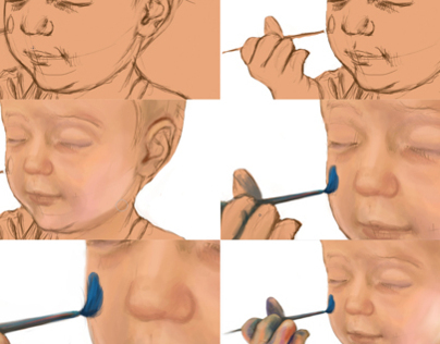 Timelapse: Toddler with paintbrush