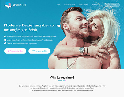 Homepage design concept for LoveGainer