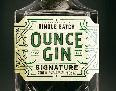 Ounce Gin Label Design