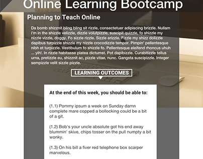 Online Learning Bootcamp Course Design