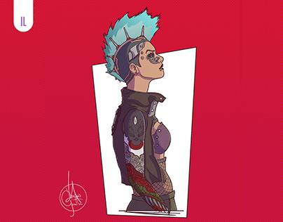 Cyberpunk Girl Ilustration