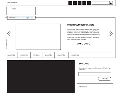 WireFrame of a educational blog for product awareness
