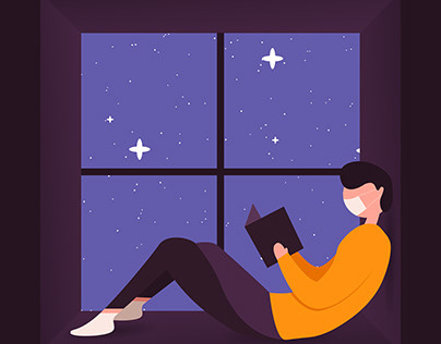 A Man Reading Book on the Window in the Night