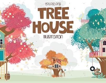 Tree House. Cartoon illustration