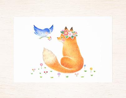 """""""Friend's Fox and Little Bird"""""""