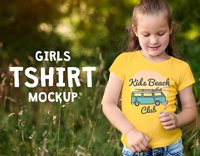 Girls T-shirt Mock-up PSD Template