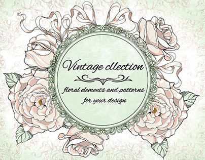 Floral elements and patterns. Vintage collection.