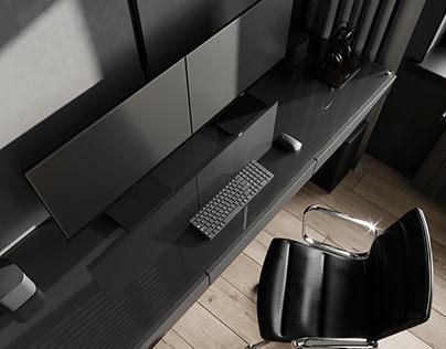 Cabinet design in a dark shade