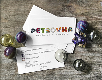 PETROVNA Handmade & Lampwork. Logo, brand identity.