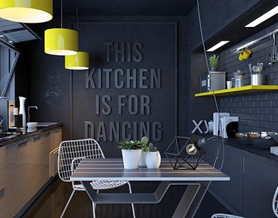 Black & yellow Kitchen