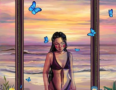 THE SUNSET INSIDE A FRAME | illustration