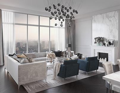 New York Style Living Room Interior