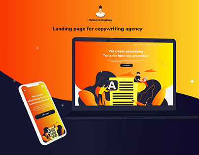 Landing page for copywriting agency
