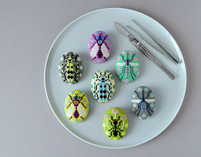 Kogin Embroidered Insect Brooches
