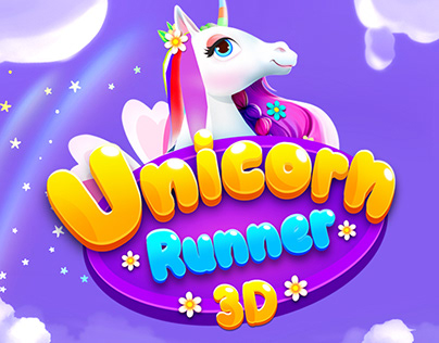 Unicorn Runner 3D - Mobile Game Ui and Promo Graphics