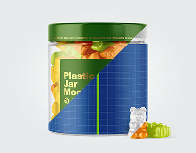 6 Plastic Jar with Gummies Mockups