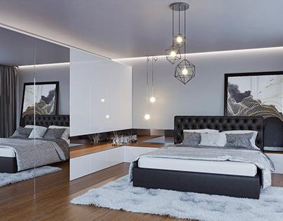 3D visualization of bedroom furniture in arrangement