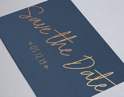 Save the Date - Navy & Gold foil
