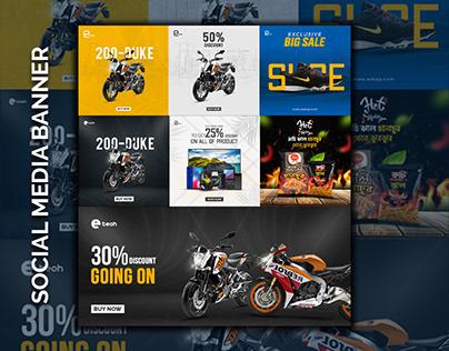 Bike & gadget social media banner design template.