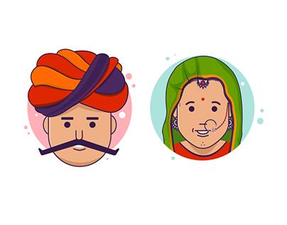 Rajasthani Couple Characters