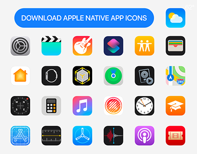 Apple's Native 62pcs Apps Icons for FREE Download