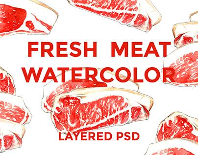 Fresh Meat Watercolor