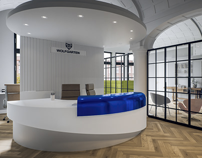 Interior visualization of the reception area