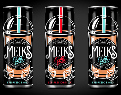 "Iced coffee packaging design for TM ""Meiks"""