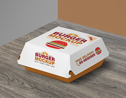Free Burger Box Packaging Mockup PSD