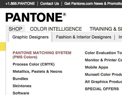 Pantone.com Navigation Redesign