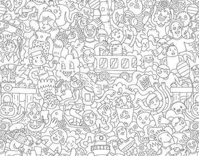 coloring doodle pattern for Beeline event in VDNH parck