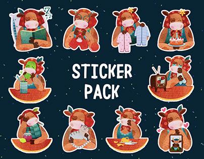 CUTE COW. Sticker Pack.