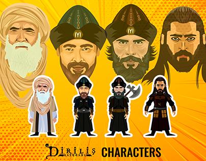 Diriliş Ertuğrul characters, caricature and vector art