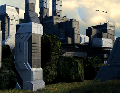 Sci-fi building structures towers
